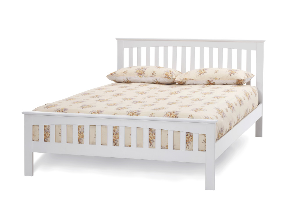 Serene Amelia 4ft6 Double Wood Bed Frame in Opal White £249